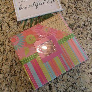 Hot Pink Floral/Stripe Embossed Memory Album NWOT